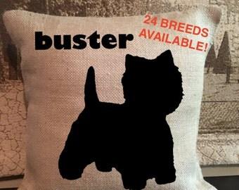 Personalized Westie Pillow - Silhouette Pillow - Dog Pillow Cover - Burlap Pillow - Home Decor - Decorative Pillow - Dog Decor