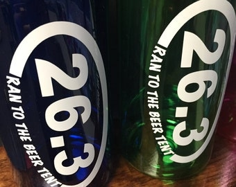 26.3 Ran to the Beer Tent Water Bottle || 34 oz Wide Mouth Personalized Water Bottle || BPA Free