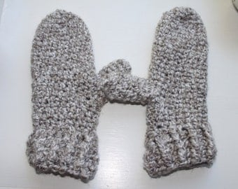 Grey and White Crochet Mittens