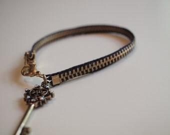 Navy Zipper Bracelet