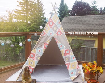 SALE! Natural Rhombuses Pastel Combo Kid's Teepee | Tent | Tipi | Playhouse | Wigwam | Ready to Ship | Photo Prop | Decoration for Room