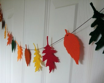 Fall banner, leaf banner, felt leaves, autumn garland, leave garland felt, fall decor, Thanksgiving decor, Thanksgiving banner