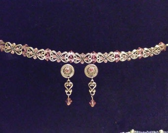 Double strand bracelet and earring set