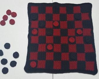Crochet checkerboard, checkerboard, checkers, crochet checkers