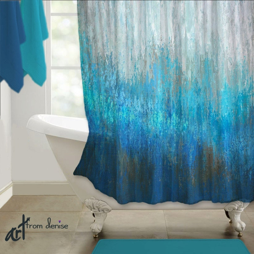 Modern shower curtain blue brown abstract art teal gray - Bathroom color schemes brown and teal ...