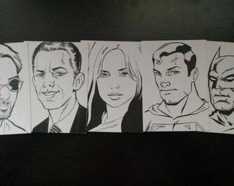 2.5 x 3.5 Custom Black-and-White Sketch Card