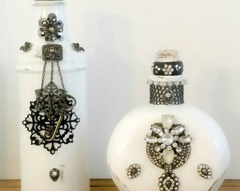Decorated Bottles, Repurposed bottles, jewelry art bottles, vintage inspired, Black and white home decor