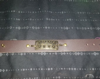 Gold Studded Leather Bracelet