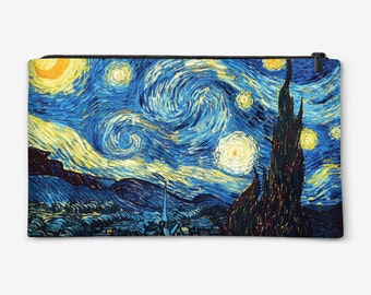 "Cosmetic bag, Pouch, Pencil Case, Purse with painting of ""The Starry Night"" gift for her gift ideas"