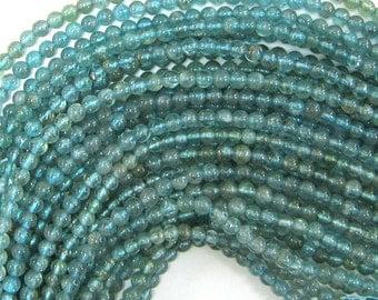 "3mm light blue apatite round beads 16"" strand S1 33898"