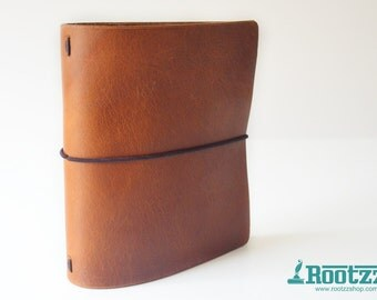 Square travelers notebook made of cognac leather midori dori fauxdori