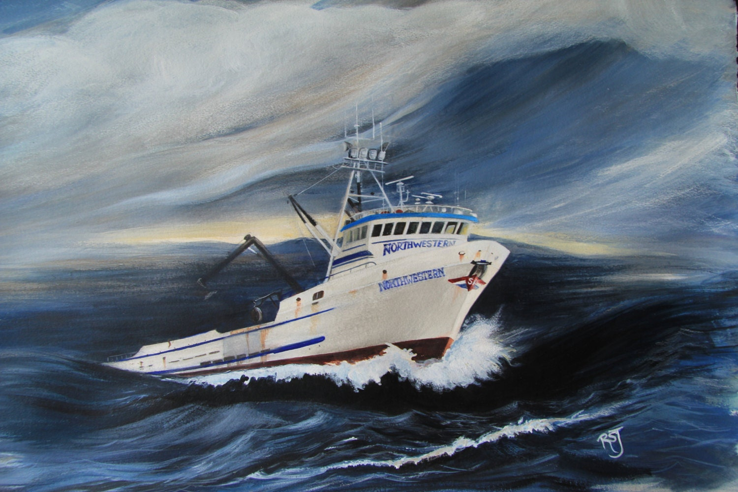 The northwestern crab boat paintings deadliest catch storm for Crab fishing boat