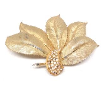Stunning Signed Vintage Estate BSK Leaves Gold Tone Brooch