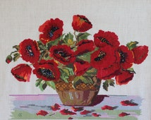 Cross stitch picture Poppies in a vase Embroidered picture Poppies' bouquet Cross stitch art Still life Red Poppies décor Home needlework