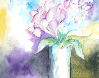 SALE Flowers Original Floral Watercolor Painting Impressionist Watercolour Wall art Watercolor Flower Gift ideas Valentines Day sale