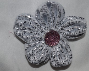 silver sparkle flower hair clip