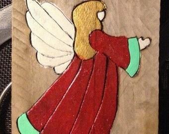 Wood Burned hand painted angel ornament