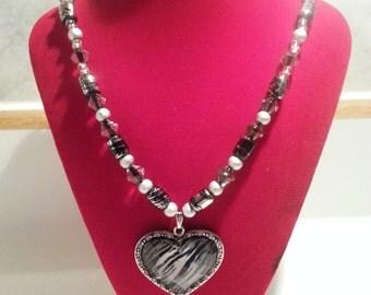 Zebra Heart Necklace