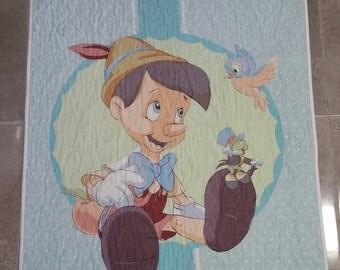 Pinnochio Quilt, Baby Quilt, Children's Quilt