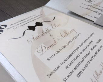 Black Tie Formal Wedding Invitation, Silver Pocketfold, Black and Champagne
