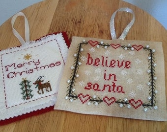 Set Christmas Cross stitch patterns, set of two, Believe in Santa, and Merry Christmas Rudolph, Download, Primitive cross stitch