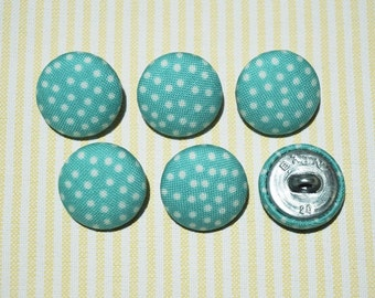 6 Light Blue with White Dots Fabric Covered Buttons - 20mm (Metal Shanks, Metal Flatbacks)