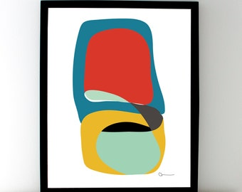 Abstract Art Print, FROM STONE No. 2, Mid-Century Modern, Red, Blue, Yellow, Black
