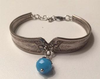 Vintage Silver-Plated Spoon Handle Bracelet with Light Blue/Aqua Charm.