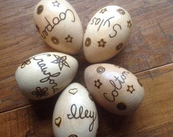 Wooden Easter Egg - Personalized Easter Egg - wooden egg, wood burned,  one sided