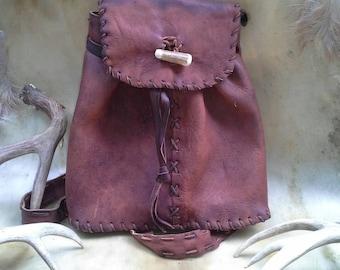 "Bark Tanned Elk Skin Leather Drawstring Backpack 13""X13"""
