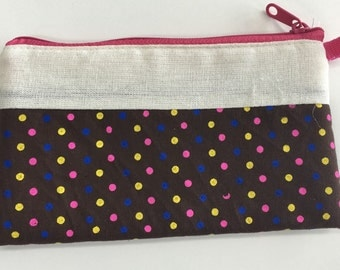 Cotton Coin Purse - yellow,pink & blue dots