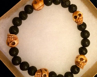 Lava Stone and Hand Carved Wood Skulls Bracelet