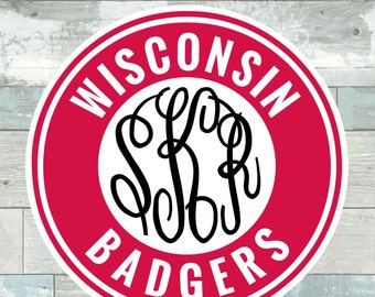University of Wisconsin Badgers Monogram Frame Cutting Files in Svg, Eps, Dxf, Png for Cricut & Silhouette | Badgers Vector