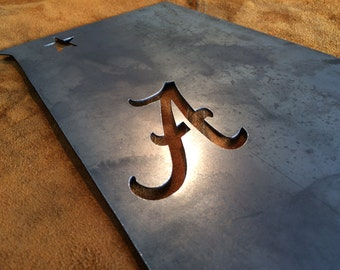 Alabama with Bama Script A | Custom Metal Sign | Metal Wall Art | Personalized Christmas Gift | Home Decor | #1100