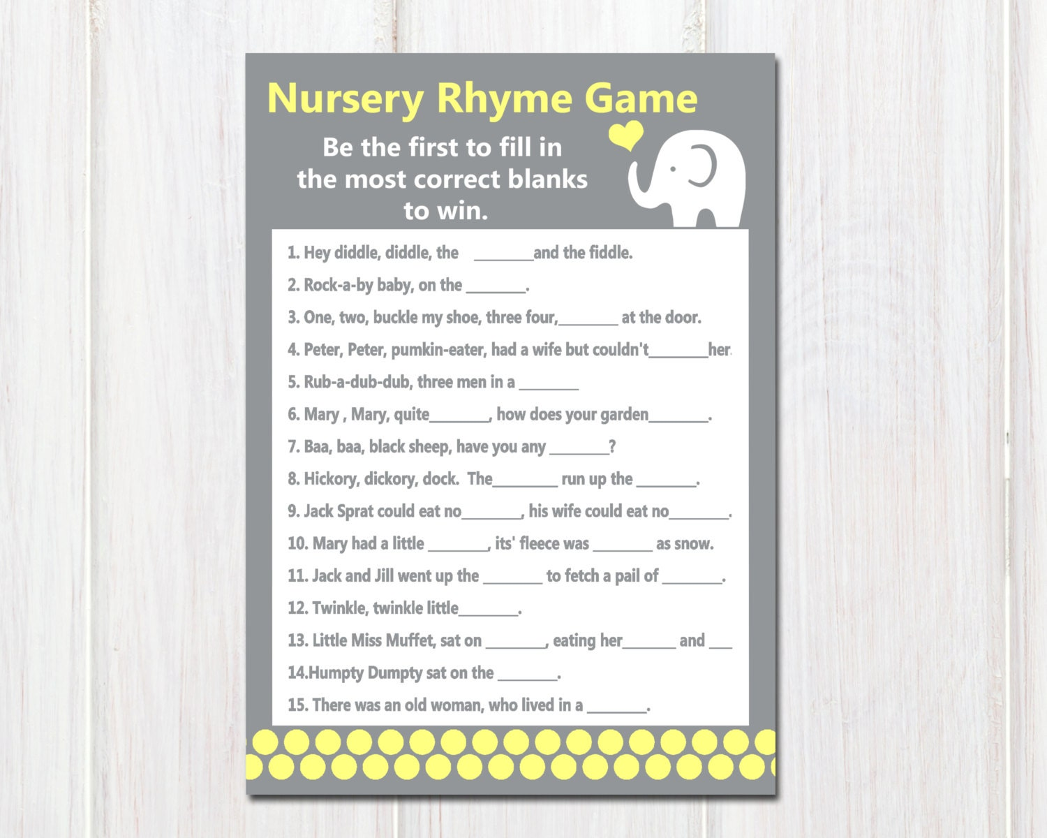 baby shower finish the nursery rhymes game by sugarbeeparties