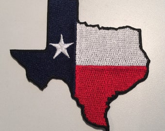 TEXAS State Flag Patch - 100% Embroidered - Iron or Sew On