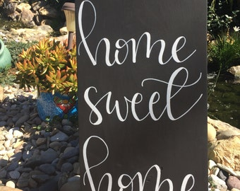 Home Sweet Home Sign, Black and White Home Sign, Wood Home Sweet Home Sign, Rustic Home Sign