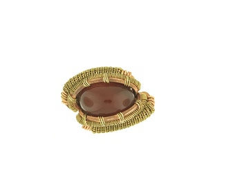 Carnelian Copper with Brass Accent Ring Sz 8