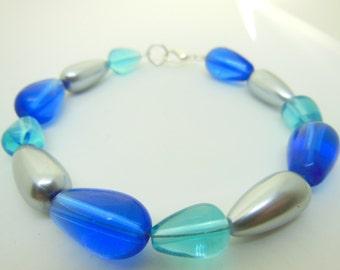 BLUE teal and silver bracelet