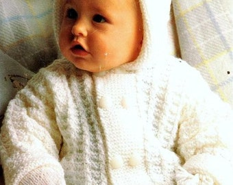 PDF Knitting Pattern Baby's Toddlers  Hooded Jacket & Mitts to fit 18-24""