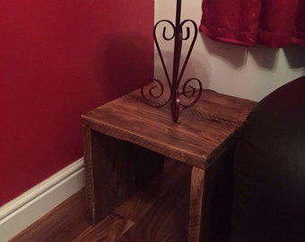 Solid wood handcrafted lamp/end table.