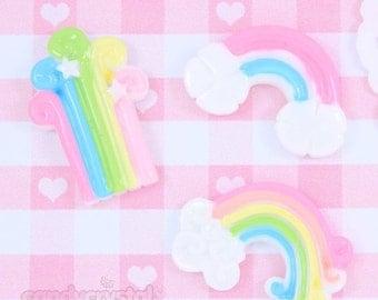 15% OFF SALE - 6 x Pastel Kawaii Rainbow Cabochon Embellishments DIY Decoden Kawaii Craft