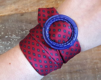 Wrap Bracelet / Anklet / Necklace - Vintage Tie with blue buckle