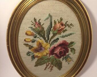 Pin Stitched Floral Arrangement - Vintage Framed