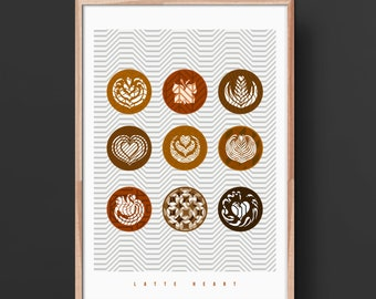 Coffee Lover's Art Print:  'Latte Heart'  Illustrated poster. Matte and Giclee Art Prints in A3 or A2 sizes. Wall Art, Home Decor