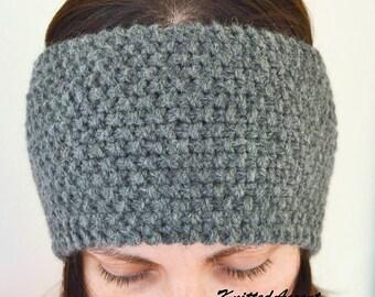Knitted Wool Headband, Gray Winter Headband, Handmade Winter Headband, Wool Headband, Winter Warm Hairband, Knitted Hairband, Hairband