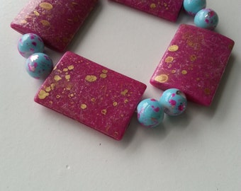 Bracelet;light blue/pink marble beads;pink/gold marble beads