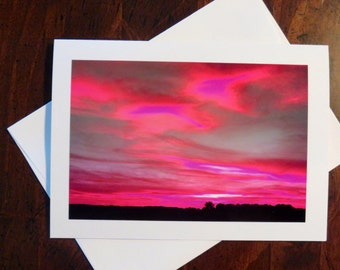 Pink Sky. Photo Greeting/Note Card. Blank Inside.