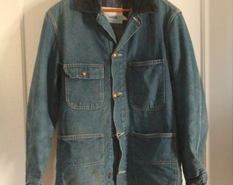 Sears Work Leisure Denim Chore Coat - Blanket Lined - Size 38 - Small