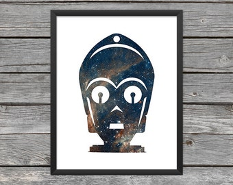 C-3PO Poster C-3PO Print Star Wars C-3PO Art C3PO Outline C3P0 Star Wars Art Star Wars Print Outer Space Art Galaxy Art Nebula Art Download